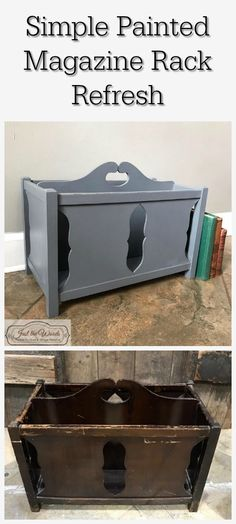 A simple vintage magazine rack received a fresh new look with a little prep and paint. Ready to sit fireside with a few magazines. Painting Old Furniture, Hand Painted Furniture, Repurposed Furniture, Diy Magazine Holder, Magazine Racks, Furniture Makeover, Furniture Ideas, Project Ideas, Diy Projects