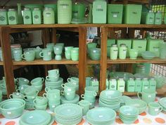 Brimfield antique show I would have fainted at the sight of ALL this jadeite in one place and been broke in a very short time!!!