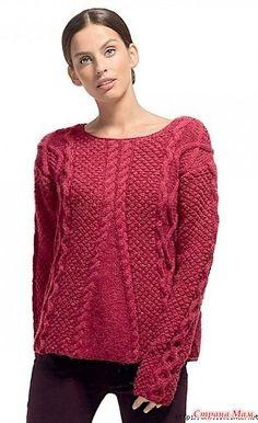 """Описание вязания джемпера переведено из журнала """"The Knitter"""". Размеры: S (M, L, XL, 2XL) Окружность груди – 82 (90, 98, 108, 118) см,"""