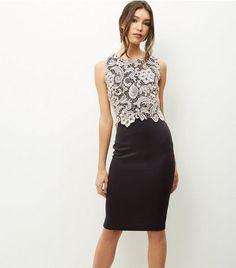 AX Paris Black Crochet Panel Midi Dress | New Look