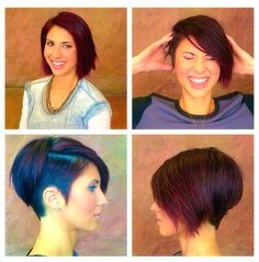 Love this undercut version of an inverted short bob cut