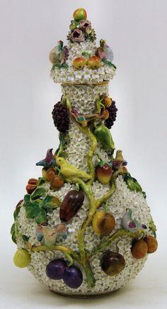 Jacob Petit ( Paris Porcelain) China Porcelain — Schneeballen Porcelain Bottle Shaped Vase and Cover. H:13.5ins ,19th Century  (2457x1329)