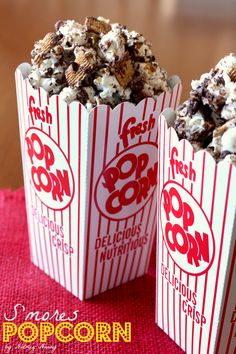 Crunchy s'mores popcorn filled with dark chocolate, graham cracker cereal and lots of marshmallows. This is the perfect snacking food.