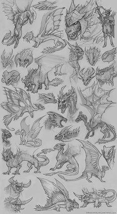 Character Development Process - Dragon of Elanthia - development process - Adventure Manga Wings Of Fire Dragons, Cool Dragons, Creature Concept Art, Creature Design, Creature Drawings, Animal Drawings, Dragon Anatomy, Dragon Poses, Dragon Artwork