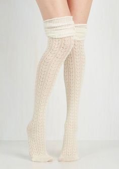 Put Your Strut In Me Thigh Highs in Ivory - Boho, Urban, Darling, Over the Knee (OTK), Knit, Cream, Top Rated
