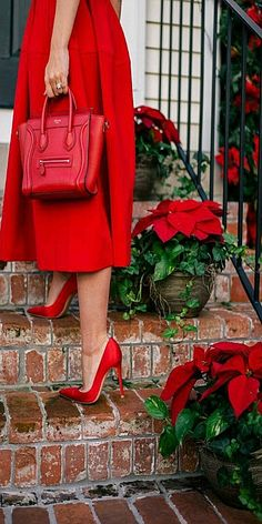 Outfit Details: Jill Stuart Dress c& Neiman Marcus Last Call I'm a pink lady at heart, but red has taken over me this season. Lady Dior, Tartan, Gal Meets Glam, Celine Bag, Models, Red Christmas, Christmas Poinsettia, Christmas Colors, Southern Christmas