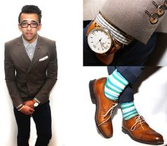 Allen Edmund Brown Wingtips, Hook + Albert Striped Socks, Swiss Leather Watch, French Connection Uk Gingham Shirt, Zara Double Breasted Sportcoat, French Connection Uk Navy Chinos