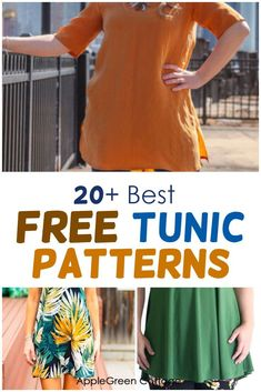 A huge collection of free tunic patterns to sew, for all styles and all sewing skills: beginner to advanced. Here you'll find a lot of womens tunic patterns, including tunic patterns with long or short sleeves, flutter sleeved tunics, swing tunic tops, sleeveless tunic dress patterns and tunic tops for all seasons. Check out all the free womens tunic patterns and choose your favorite. #tunicpatterns #freesewingpatterns #womenstunics #tunic Tunic Dress Patterns, Tunic Pattern, Sewing Projects For Beginners, Sewing Tutorials, Sleeveless Tunic, Sewing Patterns Free, Baby Sewing, Simple Dresses, Flutter Sleeve