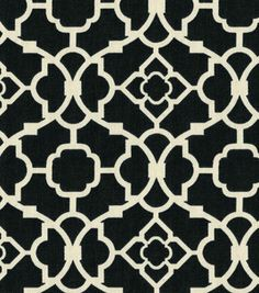 I'm thinking this fabric for the curtains in the study. It's called Waverly Lovely Lattice Caviar. @Liz Smith Lawrence, what do you think?