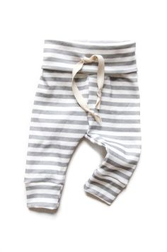 Organic Drawstring Baby Leggings Gray Stripes