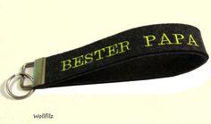 Schlüsselband BESTER PAPA auf Wollfilz double von ღKreawusel-Designღ auf DaWanda.com