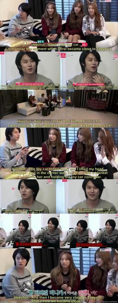 Probably the cutest way to get close to someone. I don't like Taeyeon but Heechul is definitely a sweetheart, to me!