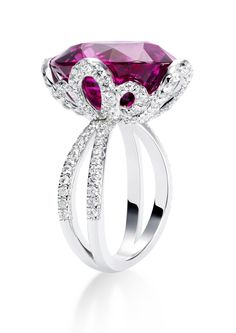 Diamonds in Brandenbourg motif with large deep red color Rubellite exquisite ring.