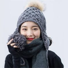 Plain gray cable knit hat with ear flaps for women winter Fur pom pom hats 016bbafd6
