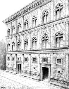 The Rucellai Palace is believed by most scholars to have been designed by Leon Battista Alberti between 1446 and 1451 and executed, at least in part, by Bernardo Rossellino. Its facade was one of the first to proclaim the new ideas of Renaissance architecture based on the use of pilasters and entablatures in proportional relationship to each other