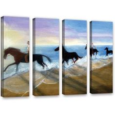 ArtWall Lindsey Janich Horses on the Beach Painting 4-Piece Gallery-Wrapped Canvas Set, Size: 24 x 32, Brown