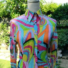 Camicia donna vintage pop art psichedelico 70s