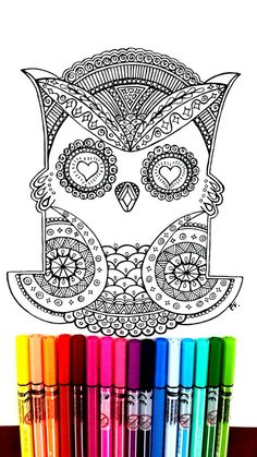 Owl page to color, complex qith many details to color, great for work with many colors. Color Therapy! Attached we have 5 images for you print and