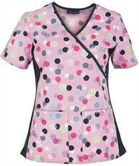 Cherokee Flexibles Scrubs Mock Wrap Top I Like It A Dot