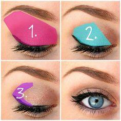 Eyeshadow: (1) lightest shade, (2) medium shade, (3) darkest shade: