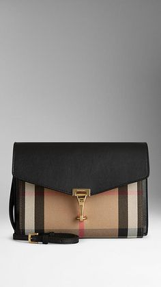 Small House Check And Leather Crossbody Bag | Burberry
