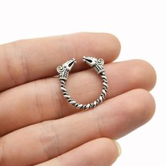 Antique Silver Viking Dragon Adjustable Ring