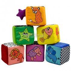 $6.50 Baby kids Children Soft Cloth Animal Digital Pattern Stacking Blocks Toys