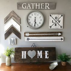 Different wall decor projects Family Wall Decor, Dining Room Wall Decor, Farmhouse Wall Decor, Rustic Farmhouse, Dining Rooms, Farmhouse Style, Wall Collage, Diy Home Decor, Family Kitchen