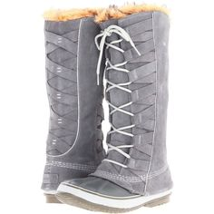 SOREL Cate of Alexandria (Boulder/Varsity Grey) Women's Cold Weather... ($150) ❤ liked on Polyvore featuring shoes, boots, grey, knee-high boots, waterproof boots, water proof boots, lace-up platform boots, gray knee high boots and grey boots