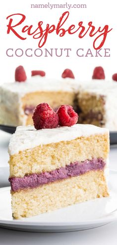 Everything from the moist cake, and the creamy filling in this Raspberry Coconut Cake recipe will have you coming back for more! Make this simple, indulgent cake for a special occasion like a birthday, or even a fun weeknight surprise!    #namelymarly #raspberrycoconut #coconutcake #raspberryfilling Best Vegan Desserts, Easy No Bake Desserts, Vegan Dessert Recipes, Delicious Vegan Recipes, Desert Recipes, Cake Recipes, Snack Recipes, Vegan Food, Kitchen Recipes