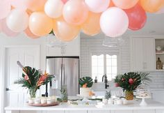 How to throw a Moana Birthday Party with beautiful muted pastels, tropical flowers and plants and a tropical balloon garland Hawaiian Princess, Hawaiian Theme, Balloon Garland, Balloon Decorations, Balloons, Moana Birthday Party, 3rd Birthday Parties, Balloon Pump, The Balloon