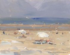 """Seascape summer No.  12 Two white parasols - Strand"" - Original Fine Art for Sale - © Roos Schuring"