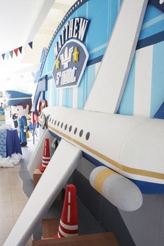 Airplane Backdrop from an Airplane Birthday Party via Kara's Party Ideas | KarasPartyIdeas.com (8)