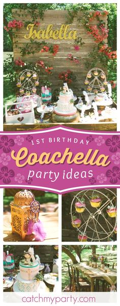 Don't miss this fabulous Coachella 1st birthday party! The cactus cupcakes are so cute!! See more party ideas and share yours at CatchMyParty.com #catchmyparty #partyideas #coachella #1stbirthday #musicfestival