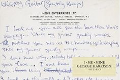 """""""I picked up a book at random - opened it - saw 'gently weeps' - then laid the book down and started the song. Beatles Songs, The Beatles, George Harrison, John Lennon, Sports And Politics, The Book, Lyrics, Munich, Archive"""
