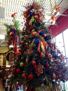 Red, blue, green and gold Christmas tree