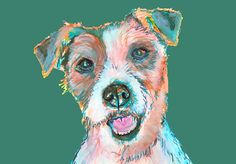 Jack Russell Terrier painting print,Jack Russell owner gift idea,Green,Turquoise picture of JRT,Colorful Jack Russell Dog… #dogs #etsy #art