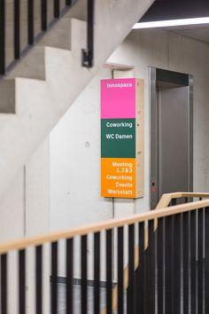 betahaus Hamburg on Behance Environmental Graphic Design, Environmental Graphics, Wayfinding Signage, Signage Design, Web Banner Design, Architecture Details, Interior Architecture, Navigation Design, Sign System