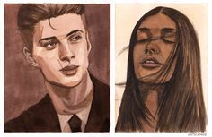 """""""""""She'd laughed, and if he could have bottled the sound and got drunk on it every night, he would have. It terrified him."""" Kaz Brekker and Inej Ghafa in Watercolor """" I fell in love with @rithmeres' pencil drawing of this particular Kanej scene and..."""