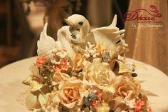 Swan themed wedding cake