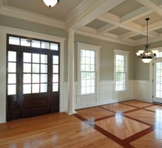 I like the coffered ceiling with contrasting paint. Moldings And Trim, Window Moulding, Chair Rail Molding, Crown Molding, Molding Ceiling, Ceiling Chandelier, Coffered Ceilings, High Ceilings, Wainscoting Panels