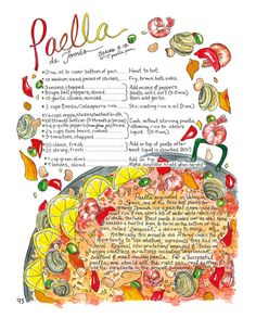 Paella Illustrated Recipe Comida Latina Art by RabbitduckWorkshop, $10.00
