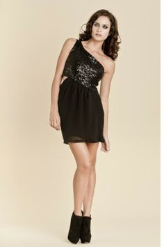 Elegant asymmetrical sequin dress with draped chiffon skirt.   polyester