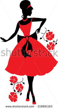 Retro woman red and black silhouette with flowers