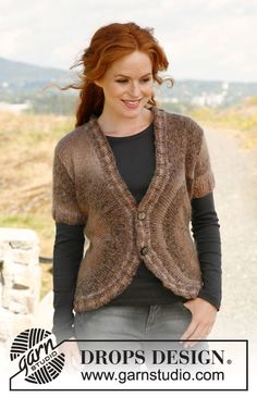 """Knitted DROPS jacket in """"Delight"""" and """"Vivaldi"""". Size: S - XXL. ~ DROPS Design"""