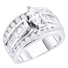 2.00 Carat (ctw) 14k White Gold Brilliant Round, Baguette & Marquise White Diamond Ladies Engagement Ring