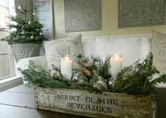 Christmas cottage table centre design