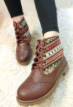 [grzxy61900080]Roman Style Retro Floral Print Perforated Booties | cheershop - Clothing on ArtFire
