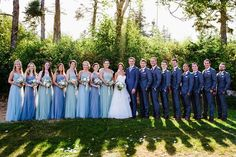 A coastal chic Maine wedding with mix and match blue bridesmaids and nautical inspired details. Country Style Wedding Dresses, Blue Wedding Dresses, Blue Bridesmaid Dresses, Wedding Bridesmaids, Blue Bridesmaids, Wedding Pics, Summer Wedding, Dream Wedding, Wedding Ideas
