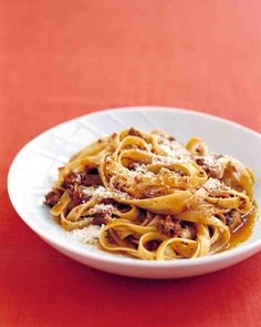 Pasta and Easy Italian Meat Sauce.  I substituted veggie sausage for ground beef.  Delicious!